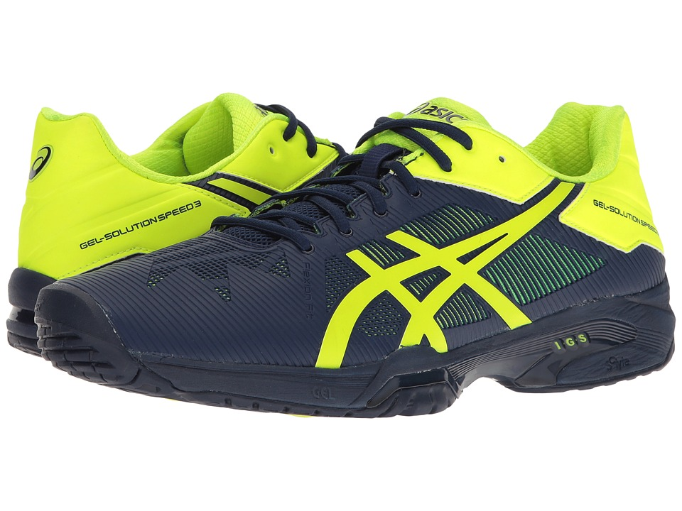 ASICS - Gel-Solution Speed 3 (Indigo Blue/Safety Yellow) Men's Tennis Shoes
