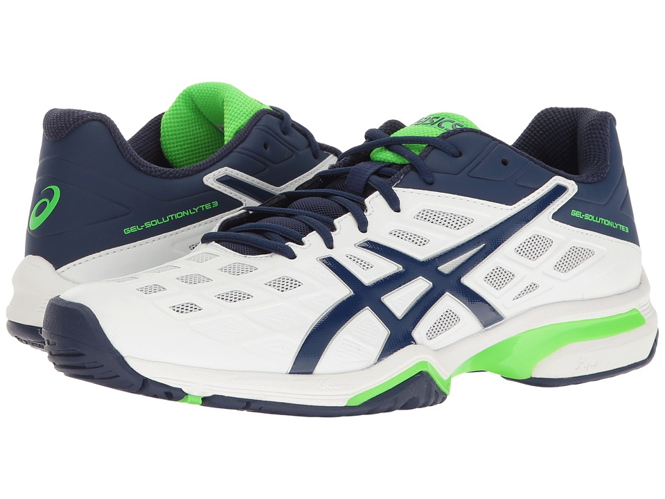 ASICS - Gel-Solution Lyte 3 (White/Indigo Blue/Green Gecko) Men's Tennis Shoes