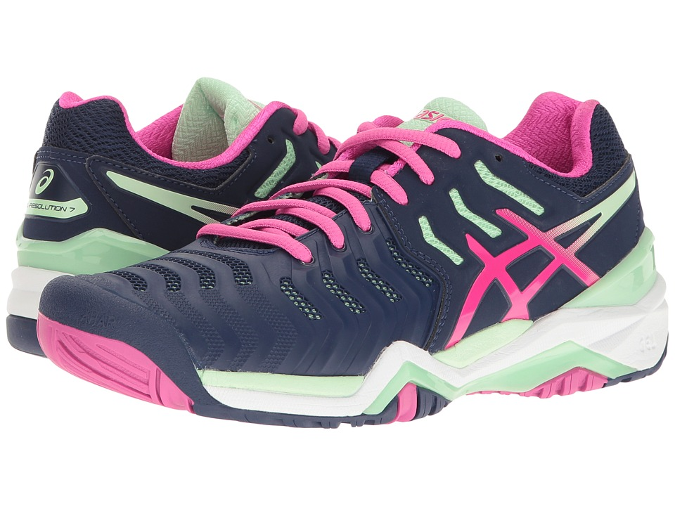 ASICS Gel-Resolution 7 (Indigo Blue/Pink Glow/Paradise Green) Women