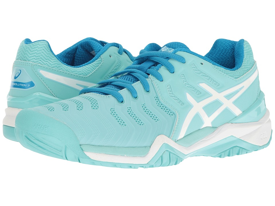 ASICS - Gel-Resolution 7 (Aqua Splash/White/Diva Blue) Women's Tennis Shoes