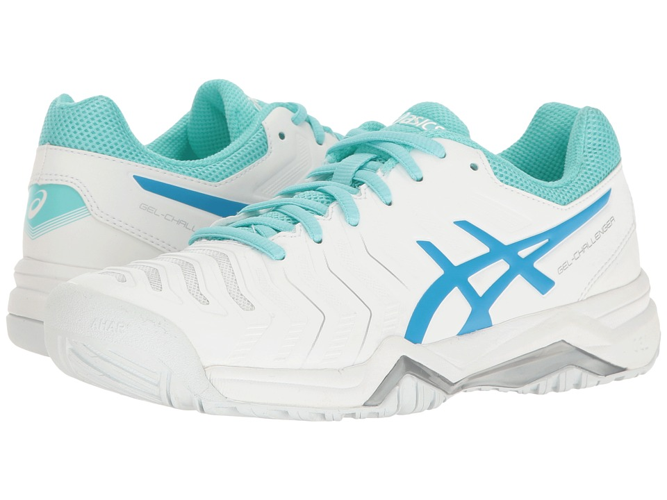 ASICS - Gel-Challenger 11 (White/Diva Blue/Aqua Splash) Women's Tennis Shoes