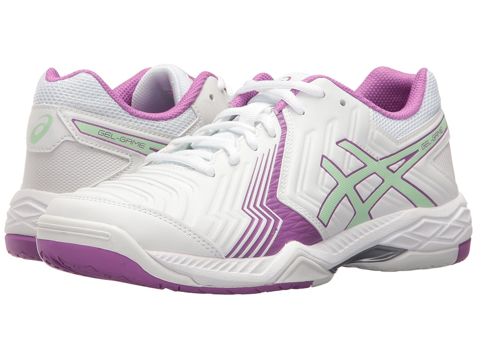 ASICS - Gel-Game 6 (White/Paradise Green/Campanula) Women's Tennis Shoes