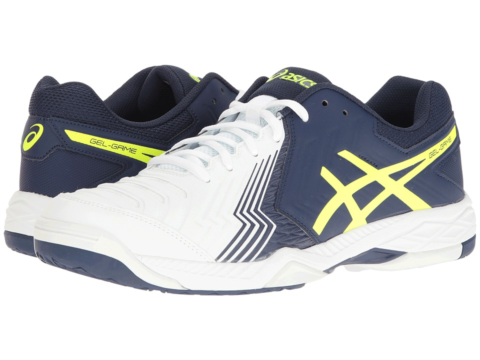 ASICS - Gel-Game 6 (White/Indigo Blue/Safety Yellow) Men's Tennis Shoes