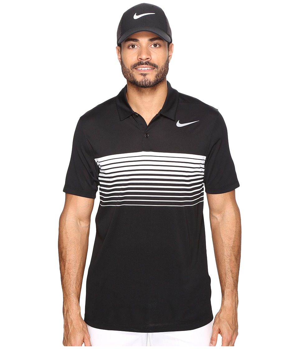 Nike Golf - Mobility Speed Stripe Polo (Black/Flat Silver) Men's Short Sleeve Pullover