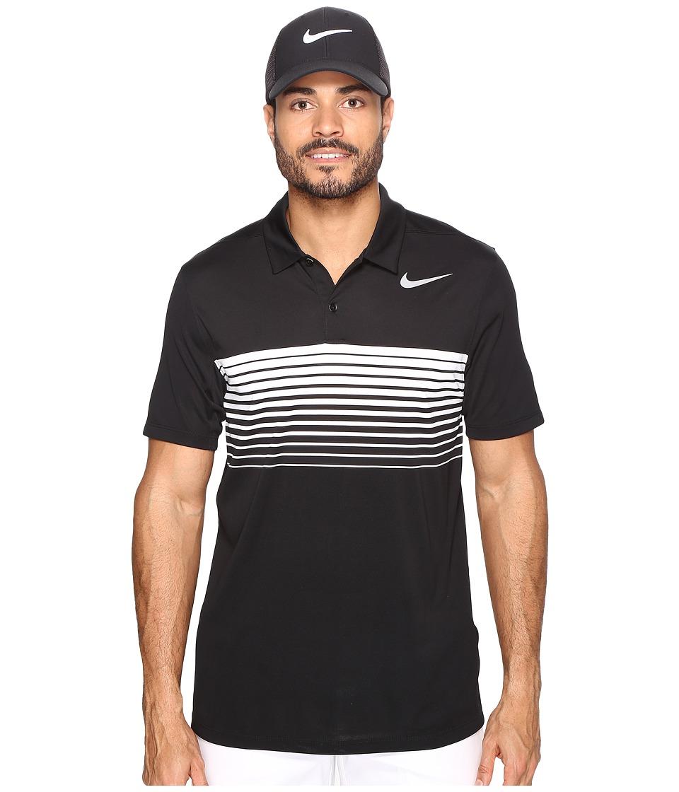 Nike Golf - Mobility Speed Stripe Polo (Black/Flat Silver) Men's Short Sleeve Pullover