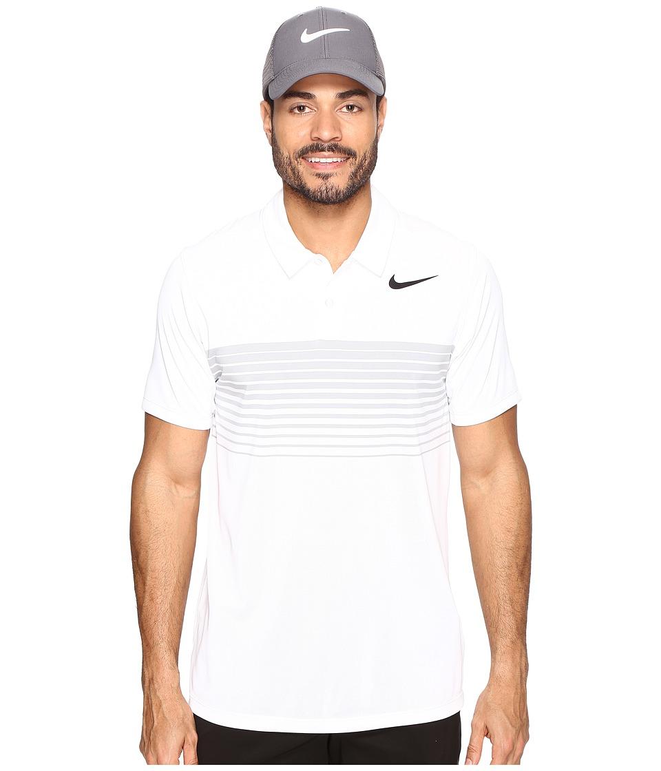 Nike Golf - Mobility Speed Stripe Polo (White/Black) Men's Short Sleeve Pullover