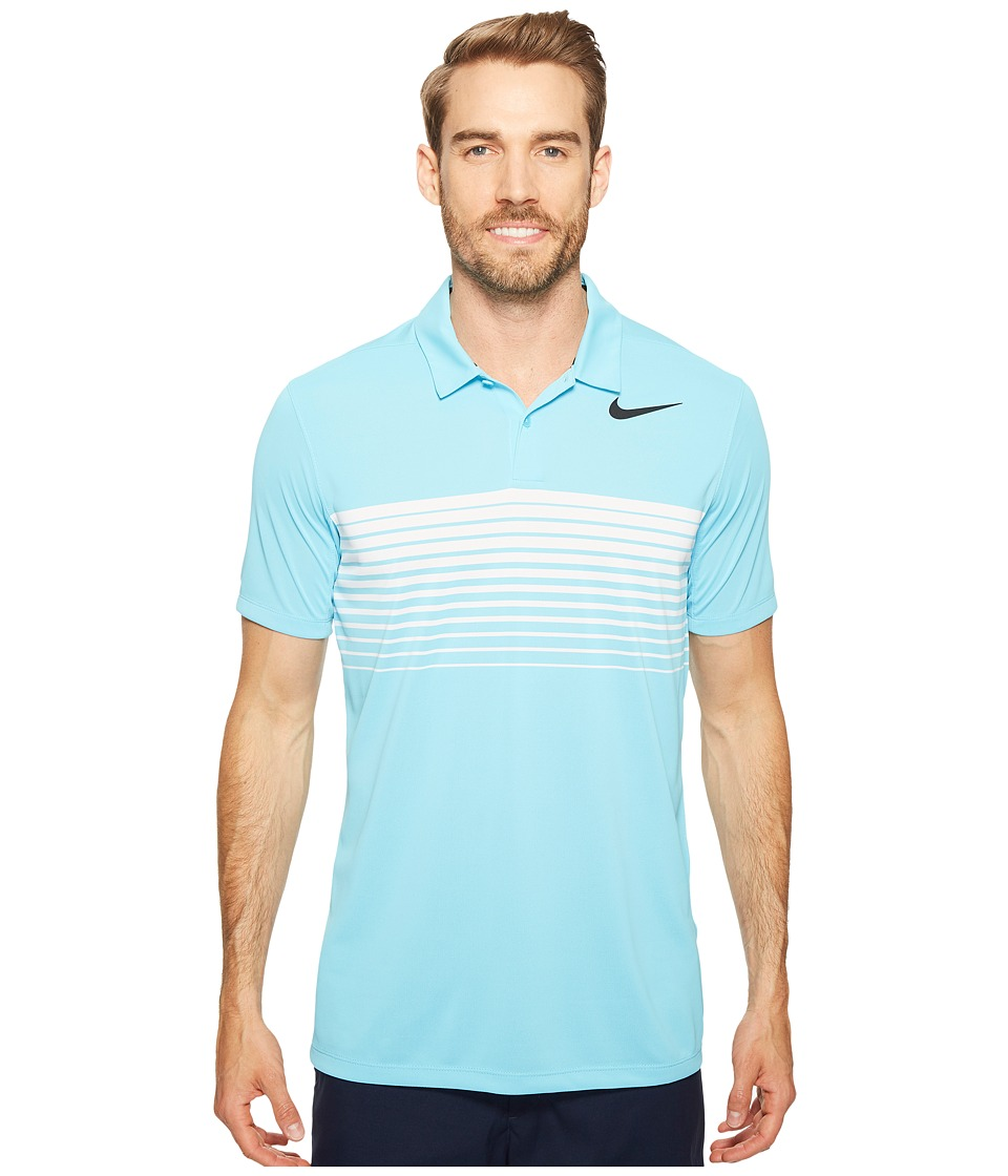 Nike Golf - Mobility Speed Stripe Polo (Vivid Sky/Black) Men's Short Sleeve Pullover