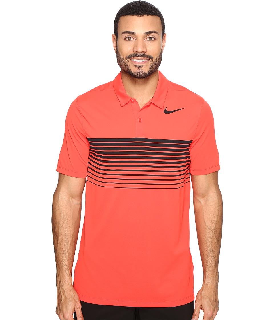 Nike Golf - Mobility Speed Stripe Polo (Max Orange/Black) Men's Short Sleeve Pullover