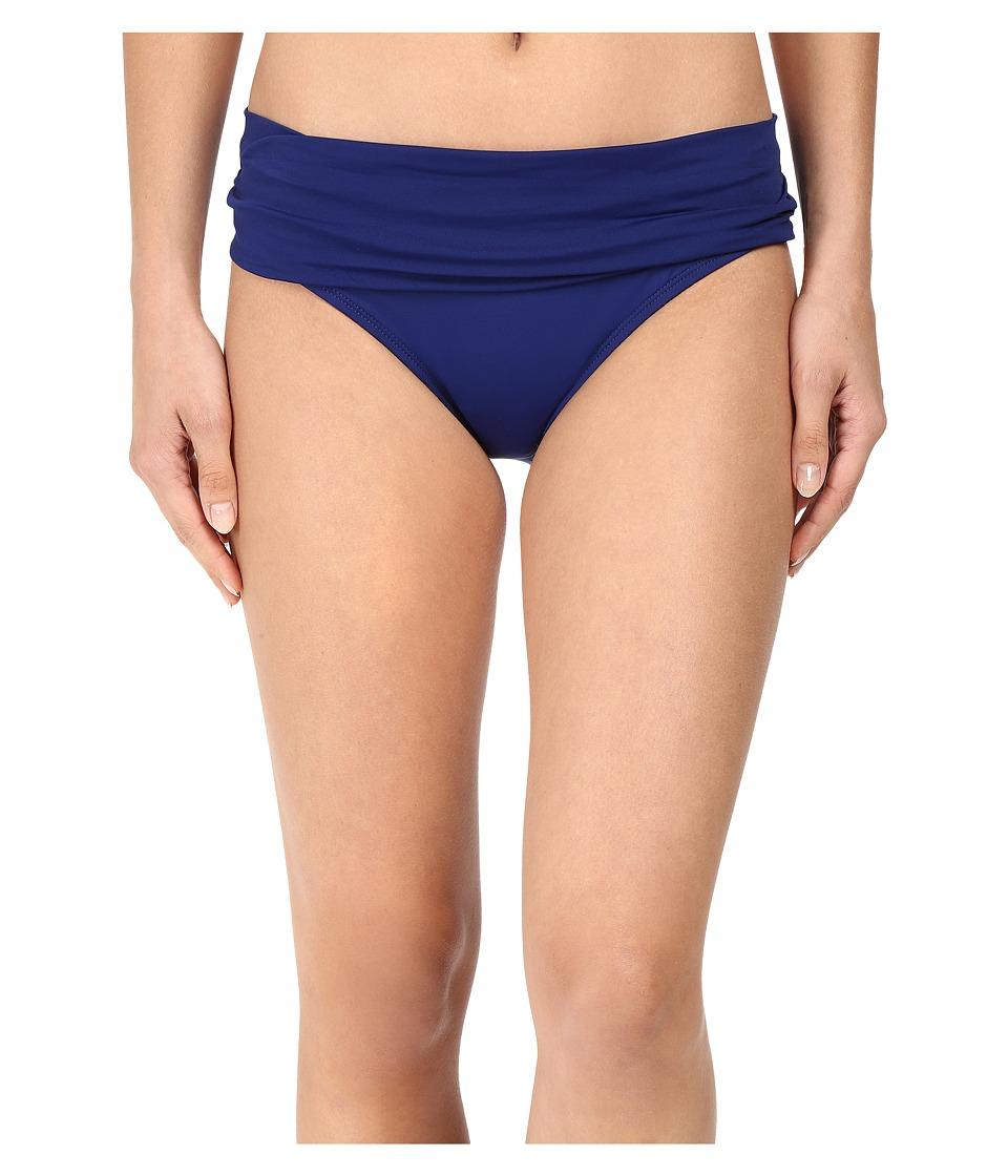 La Blanca Island Goddess Shirred Waist Hipster Bottom Midnight Swimwear