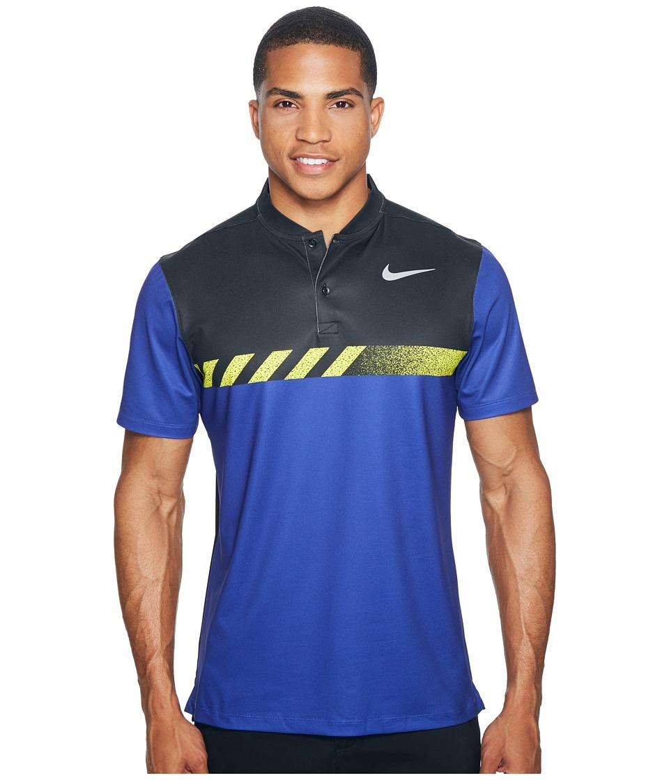 Nike Golf - MM Fly Short Sleeve Print Polo (Deep Night/Black/Flat Silver) Men's Short Sleeve Pullover