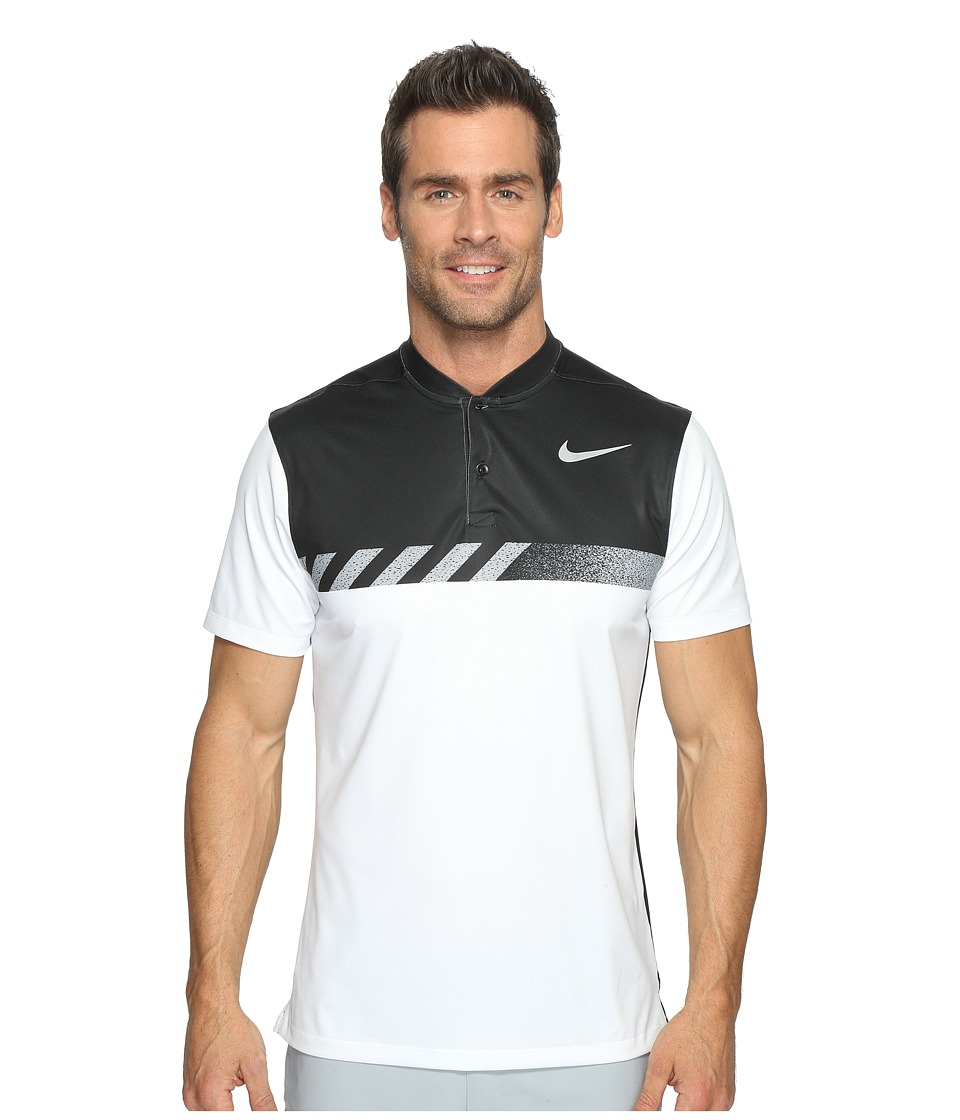 Nike Golf - MM Fly Short Sleeve Print Polo (White/Black/Flat Silver) Men's Short Sleeve Pullover