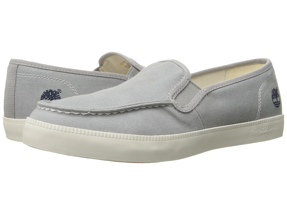 Timberland - Newport Bay Canvas Moc Toe Slip-On (Grey) Men's Slip on Shoes