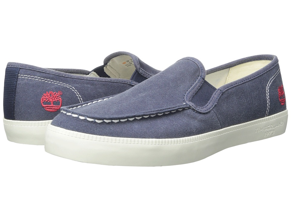 Timberland - Newport Bay Canvas Moc Toe Slip-On (Navy) Men's Slip on Shoes