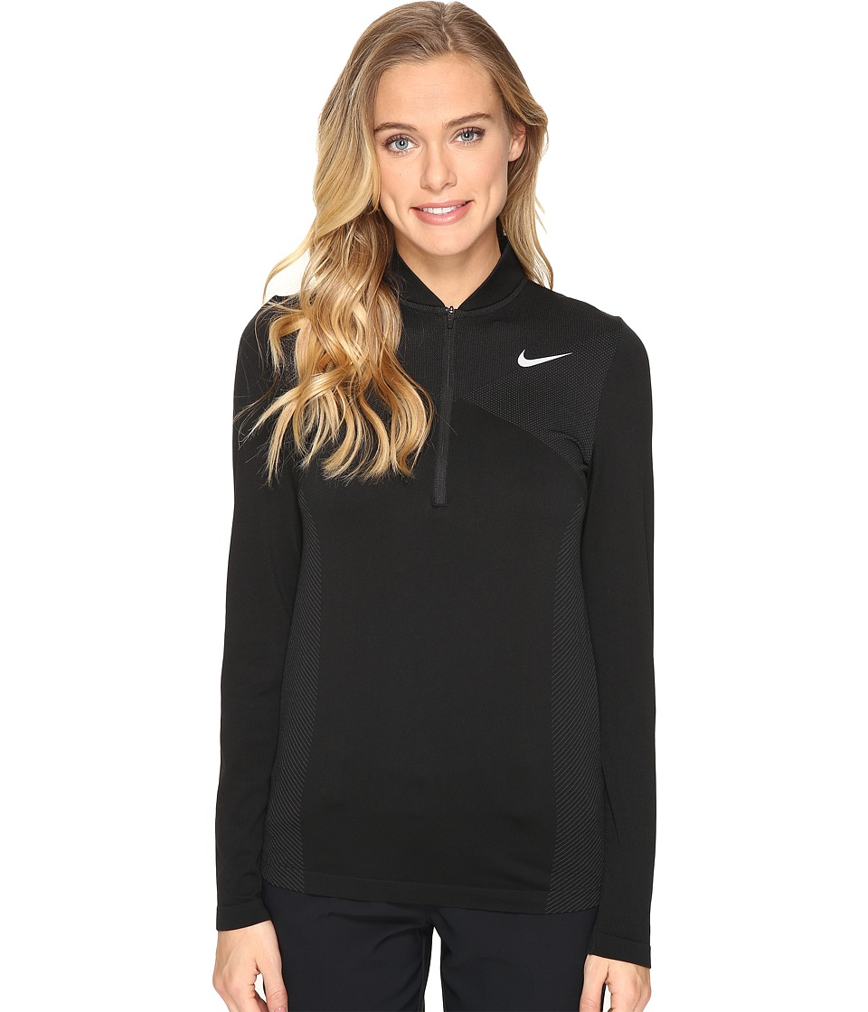 Nike Golf - Zonal Cooling Dri-Fit Knit 1/2 Zip (Black/Dark Grey/Flat Silver) Women's Long Sleeve Pullover