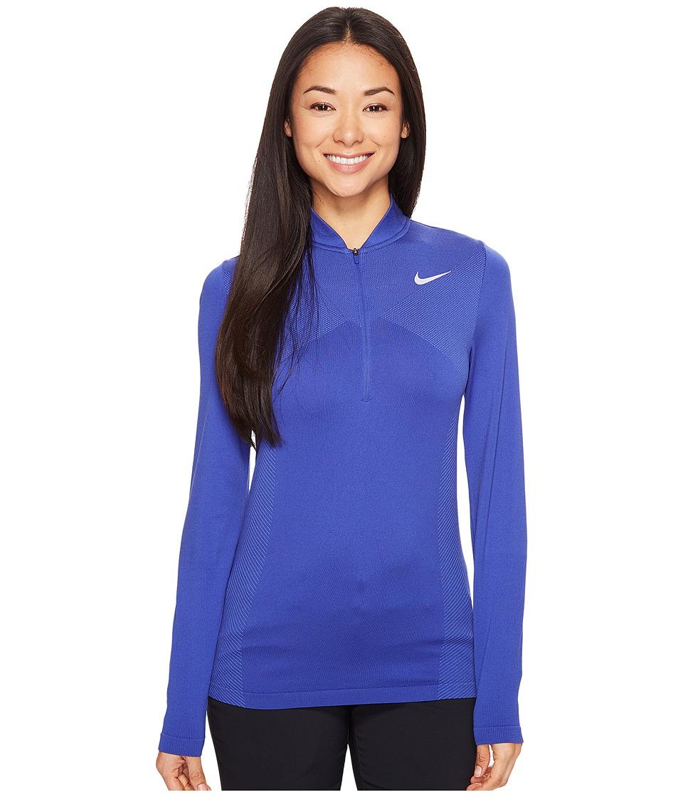 Nike Golf - Zonal Cooling Dri-Fit Knit 1/2 Zip (Deep Night/Medium Blue/Flat Silver) Women's Long Sleeve Pullover