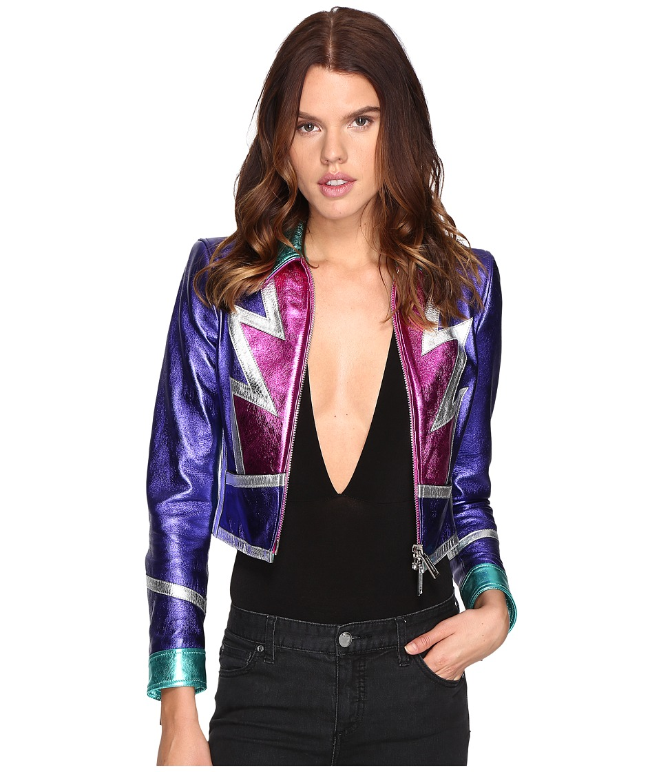 DSQUARED2 - Glam Flash Leather Jacket (Multi) Women's Coat