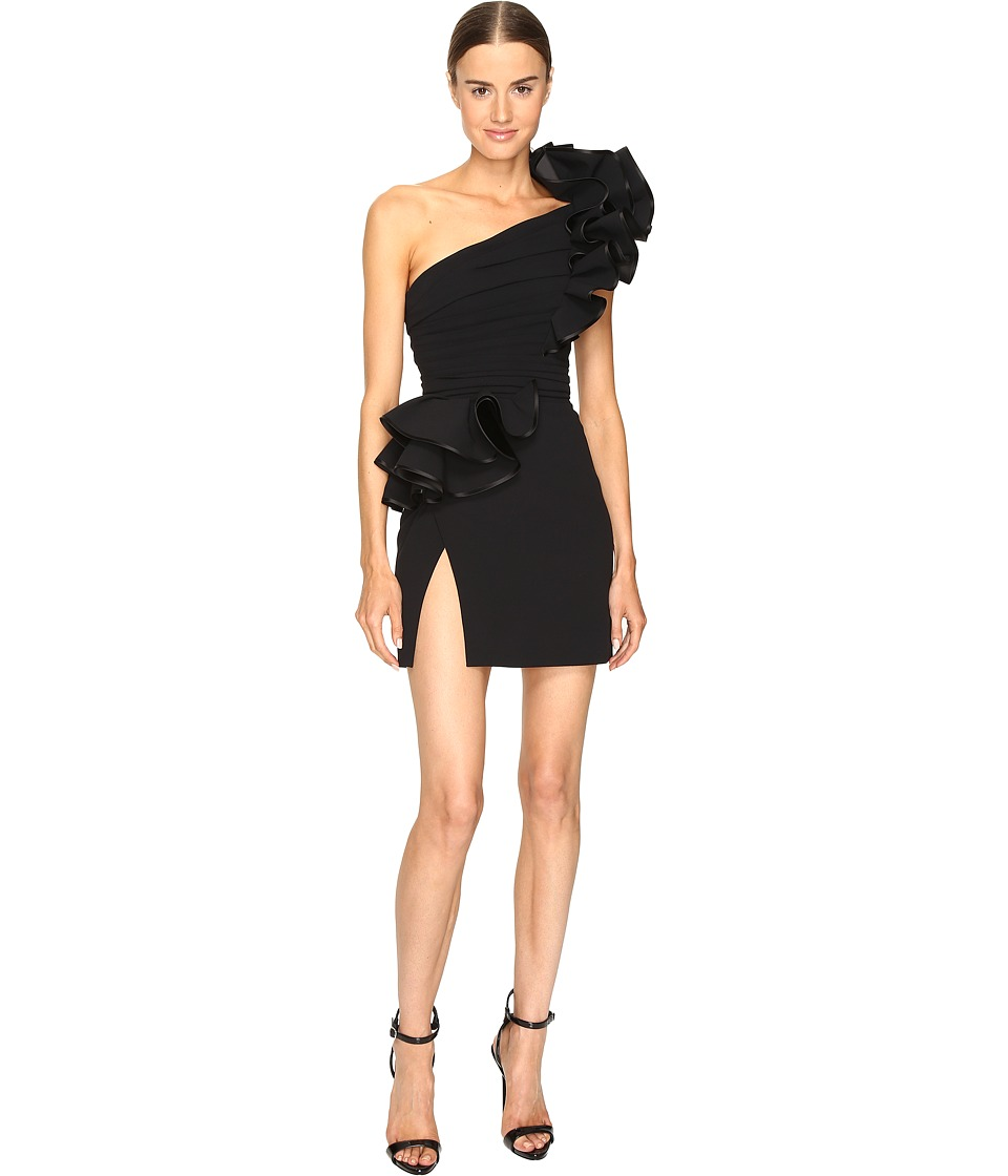 DSQUARED2 - Colby One Shoulder High Ruffle Dress (Black) Women's Dress