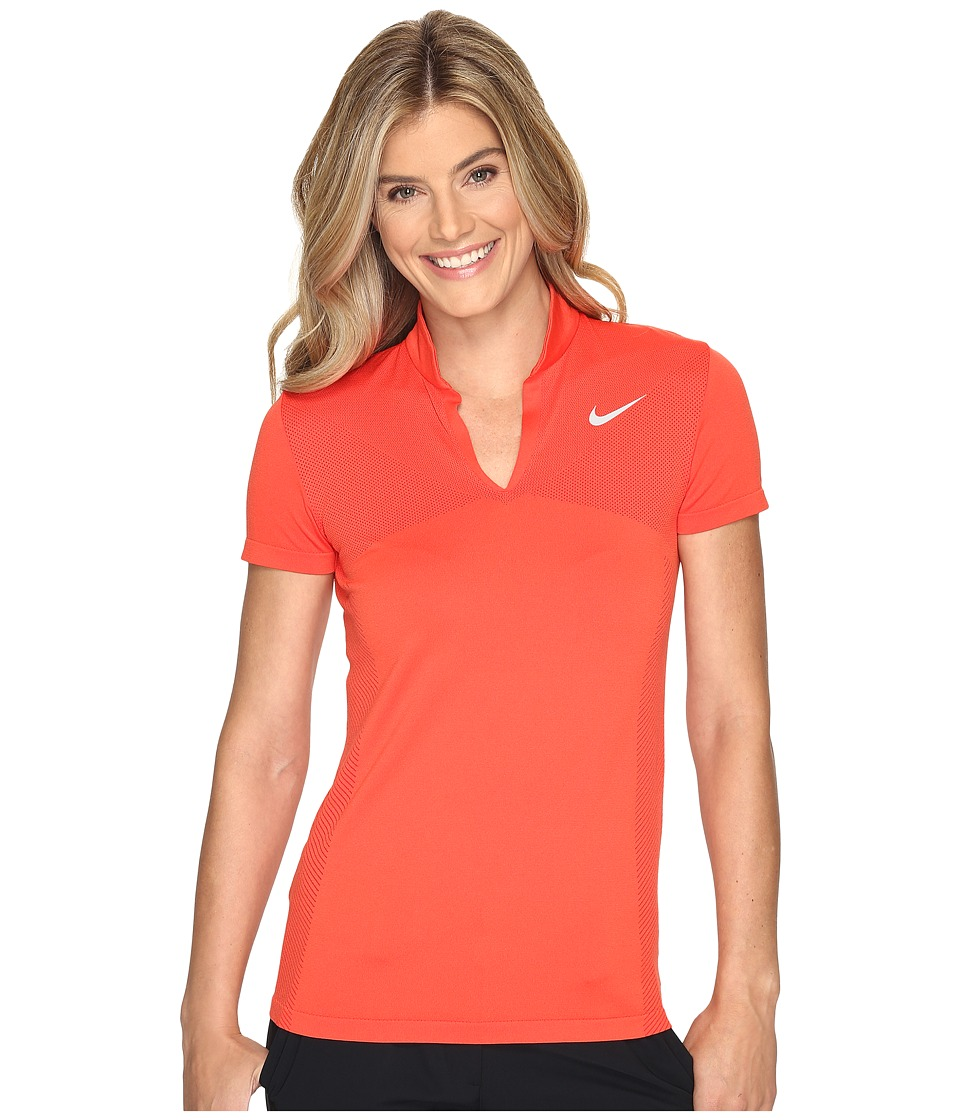 Nike Golf - Zonal Cooling Dri-Fit Knit Polo (Max Orange/Gym Red/Flat Silver) Women's Short Sleeve Pullover