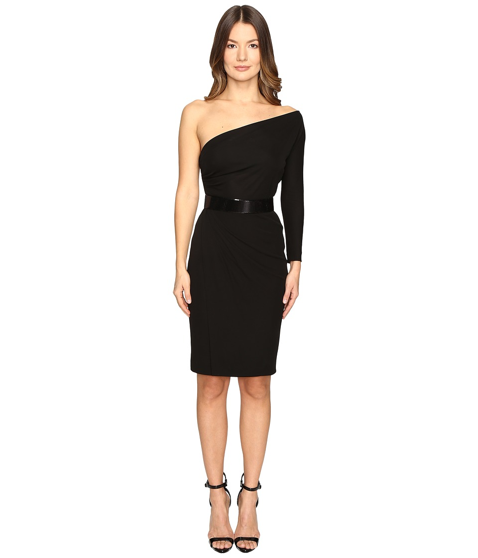DSQUARED2 - Viscose One Shoulder Long Sleeve Crepe Dress (Black) Women's Dress