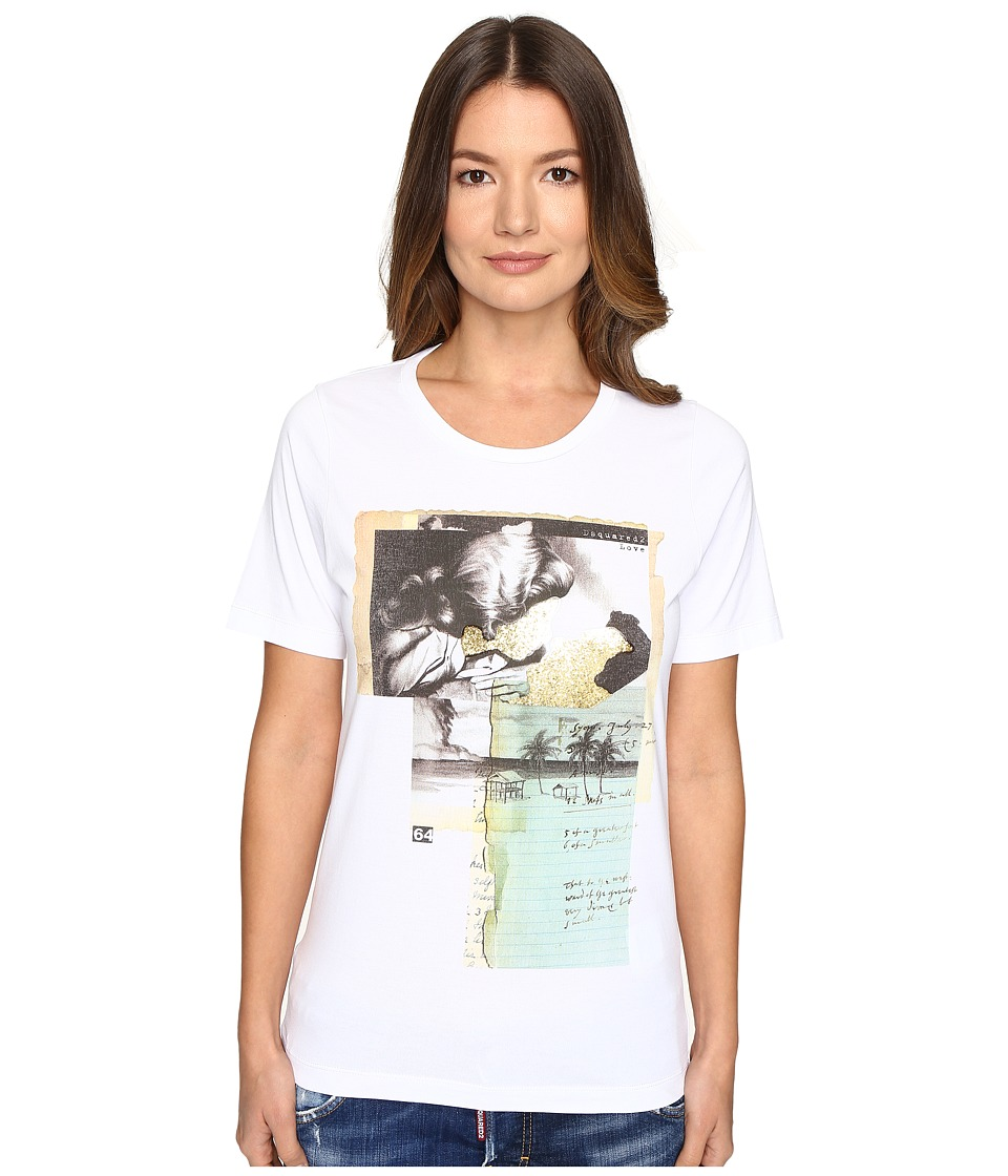 DSQUARED2 - Liza Glitter Faced Couple Jersey Tee (White) Women's T Shirt