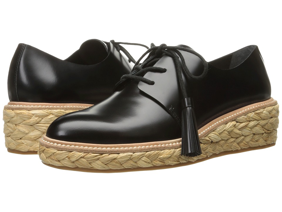 Loeffler Randall Callie (Black Calf/Natural Raffia) Women