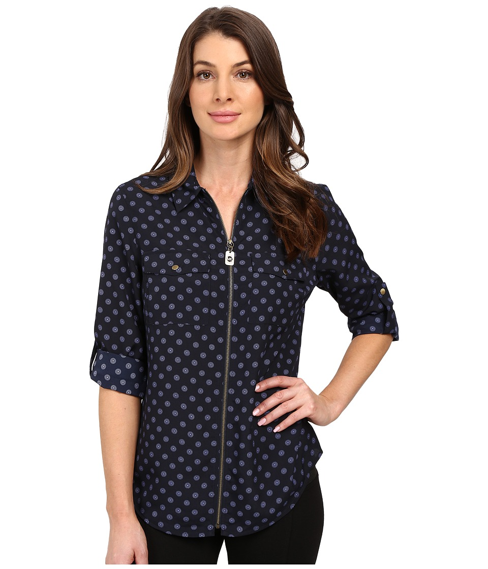 MICHAEL Michael Kors - Whitefield Dog Tag Top (New Navy) Women's Clothing