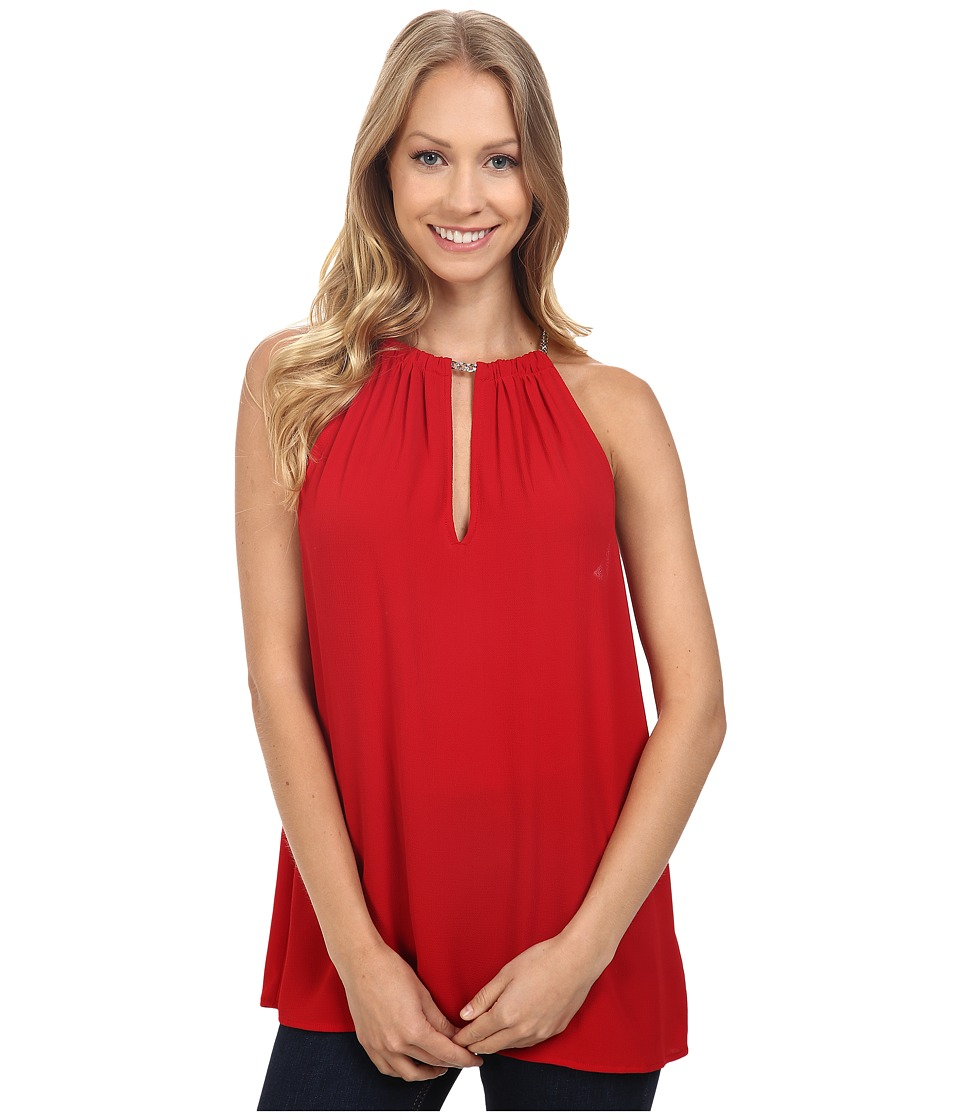 MICHAEL Michael Kors - Small Chain Neck Sleeveless Top (Red Blaze) Women's Sleeveless