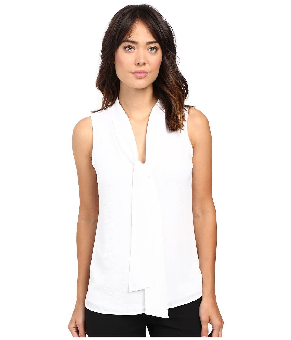 MICHAEL Michael Kors - Tie Neckline Sleeveless Top (White) Women's Sleeveless
