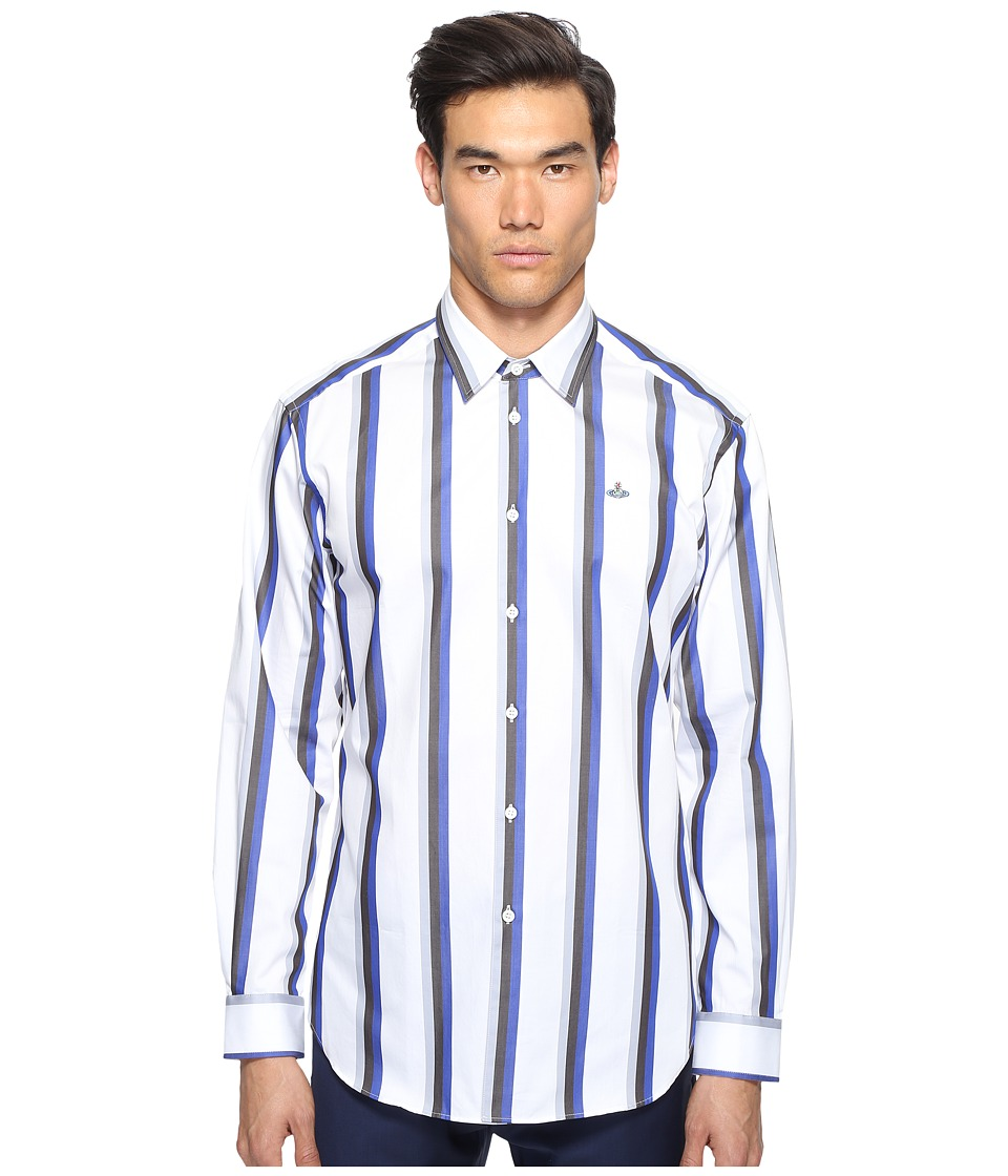 Vivienne Westwood - Bold Stripe Cutaway Shirt (Blue Stripe) Men's Clothing