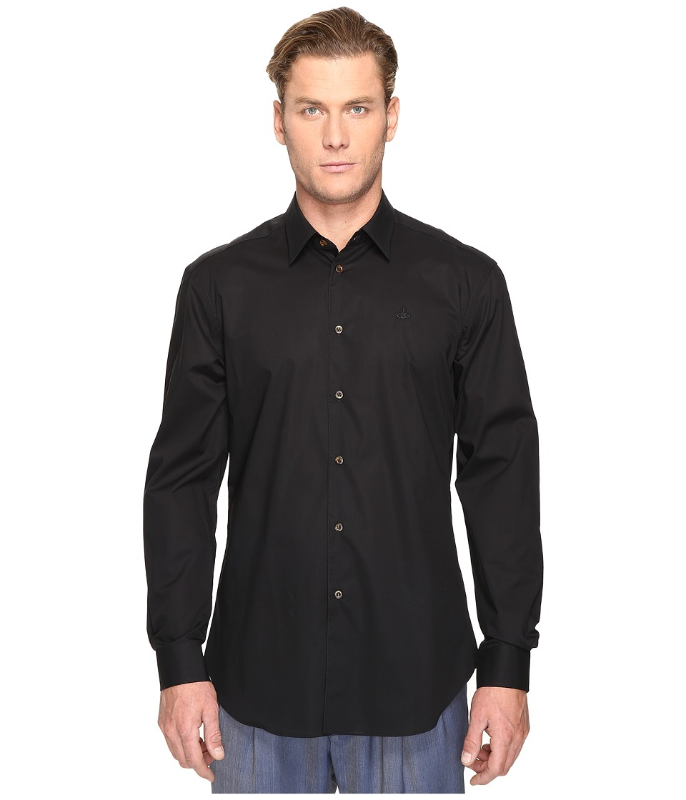 Vivienne Westwood - Classic Poplin Cutaway Shirt (Black) Men's Clothing