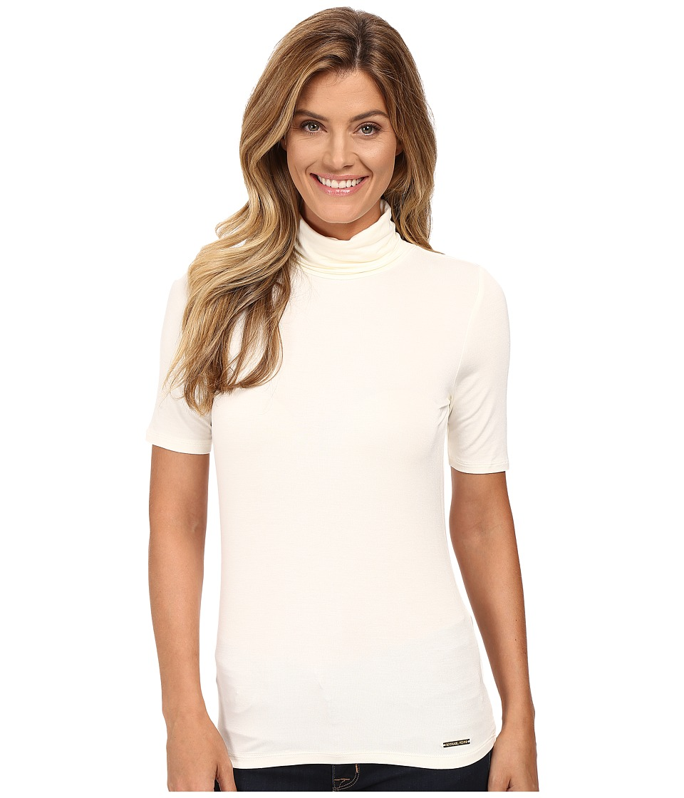 MICHAEL Michael Kors - Short Sleeve Turtleneck Top (Cream) Women's Clothing