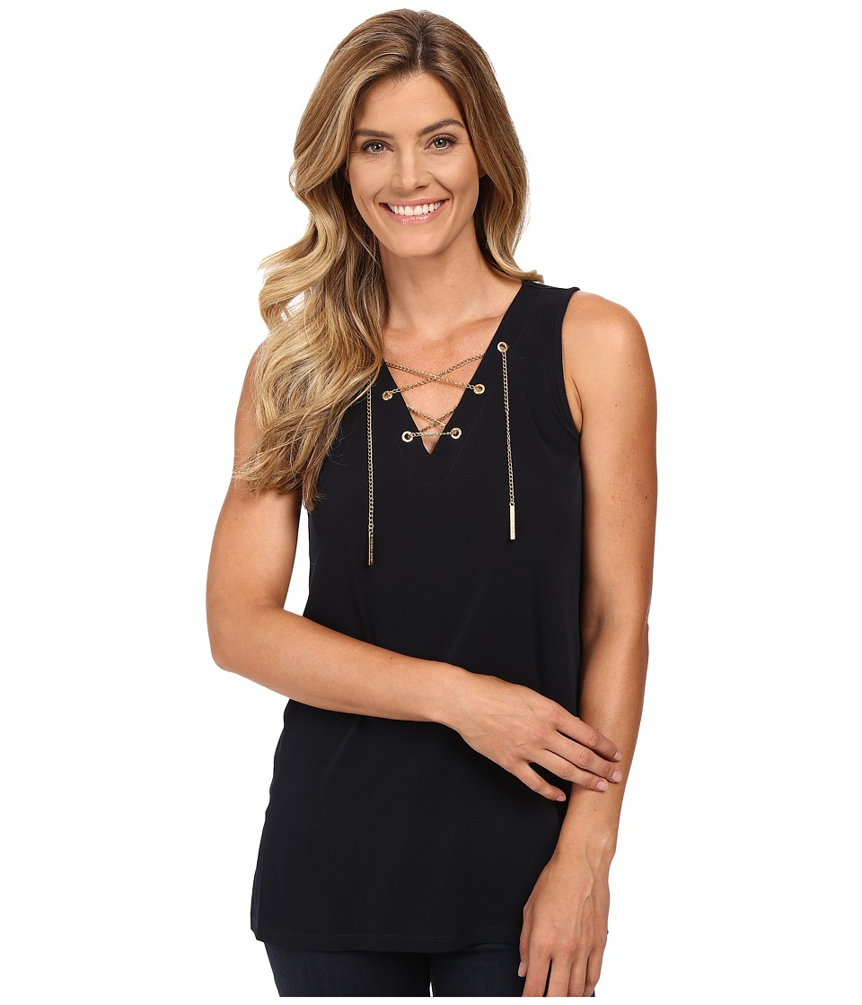 MICHAEL Michael Kors - Sleeveless Chain Lace-Up Tunic (New Navy) Women's Clothing