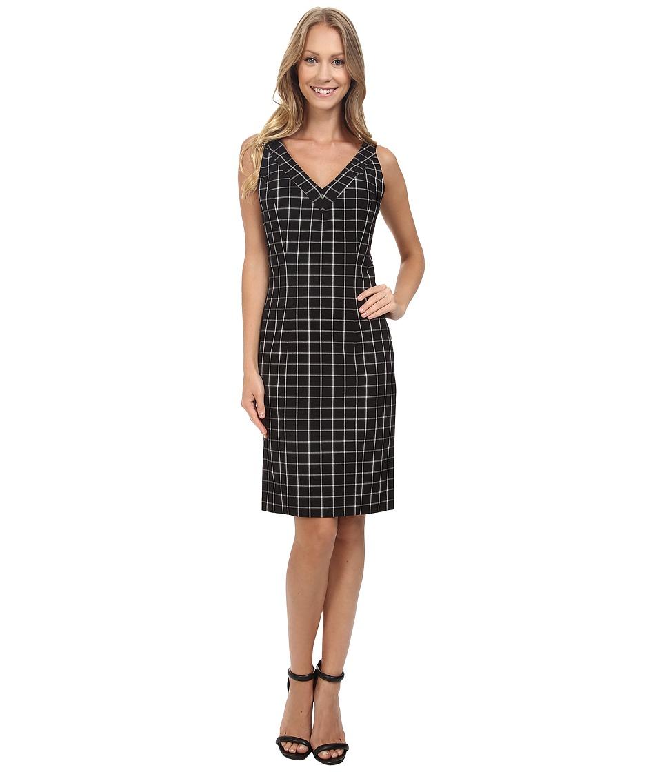 MICHAEL Michael Kors - V-Neck Sheath Dress (Black) Women's Dress