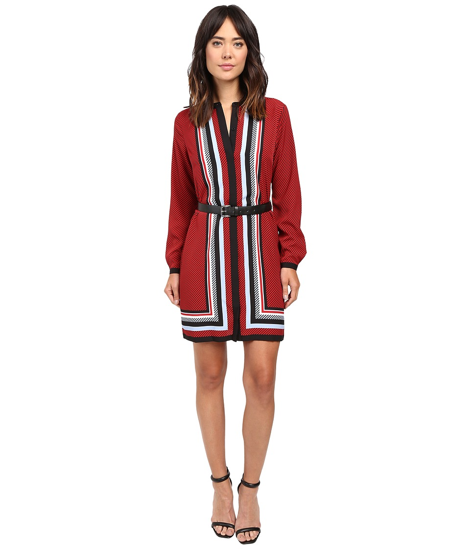 MICHAEL Michael Kors - Optic Scarf Long Sleeve Dress (Red Blaze) Women's Dress