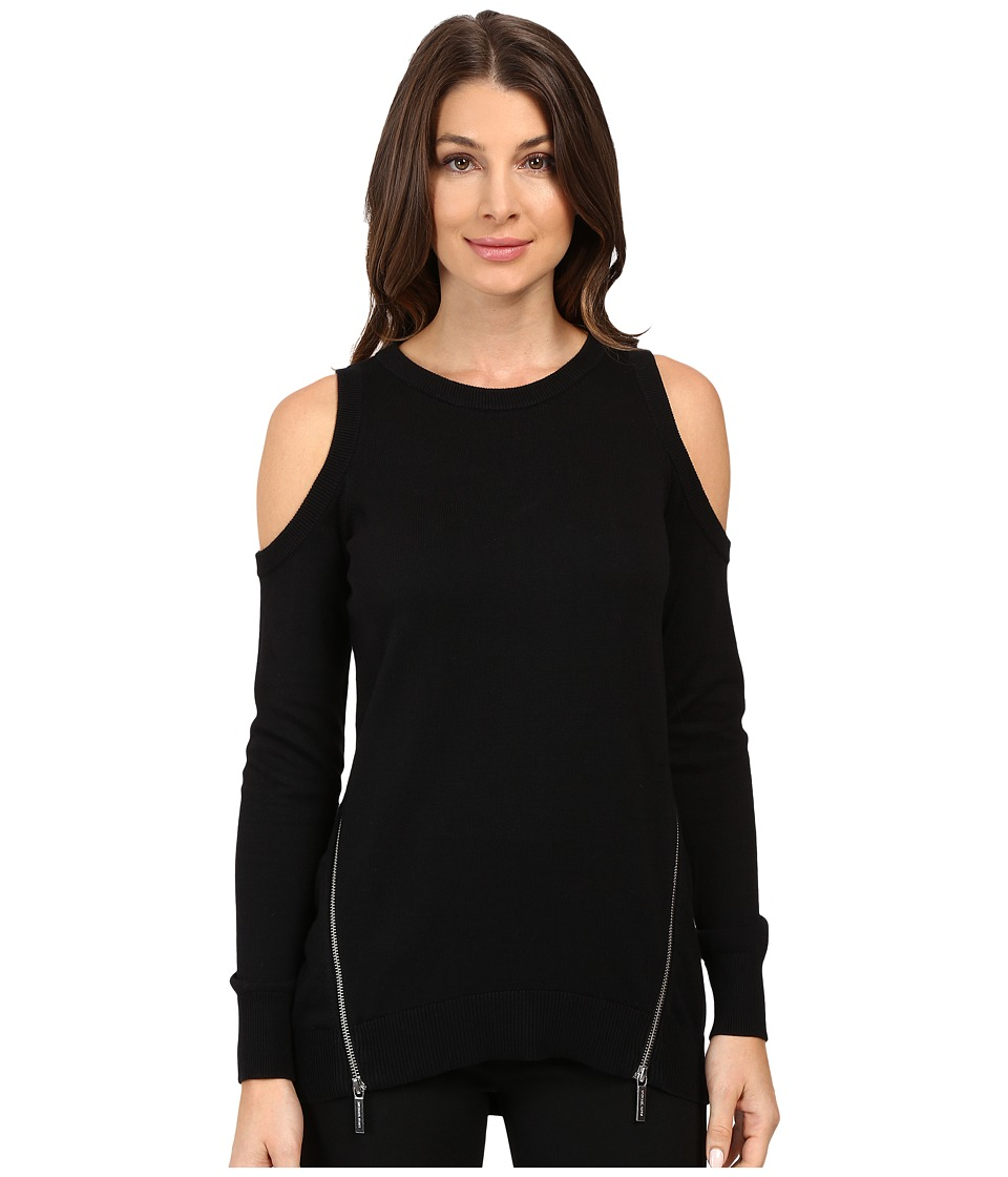 MICHAEL Michael Kors - Cold Shoulder Zip Sweater (Black) Women's Sweater
