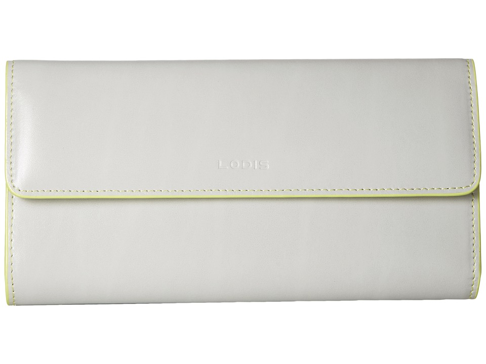 Lodis Accessories - Audrey Checkbook Clutch (Dove/Lime) Wallet Handbags