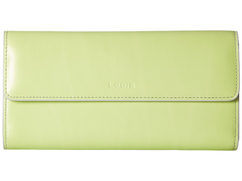 Lodis Accessories - Audrey RFID Checkbook Clutch (Lime/Dove) Wallet Handbags