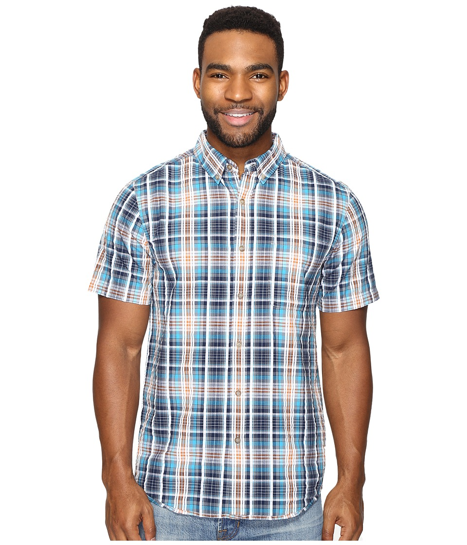 Royal Robbins - Mid-Coast Seersucker Plaid Short Sleeve (Deep Blue) Men's Short Sleeve Button Up