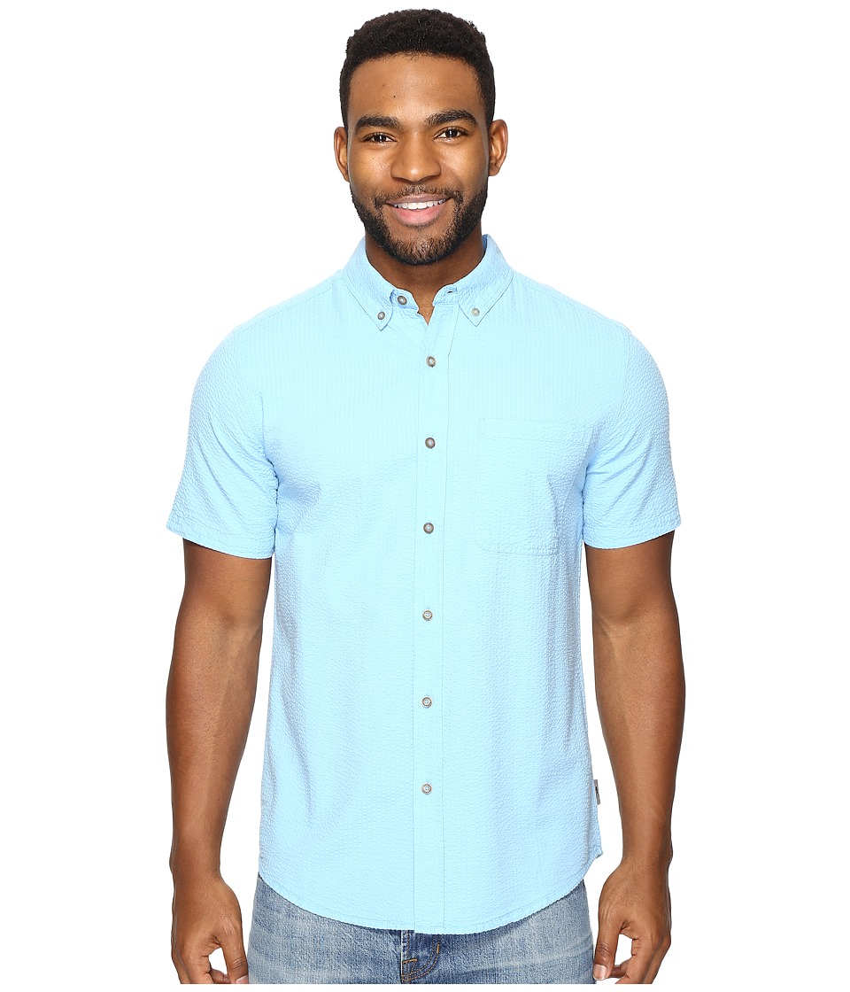 Royal Robbins - Mid-Coast Seersucker Short Sleeve (Blue Jay) Men's Short Sleeve Button Up