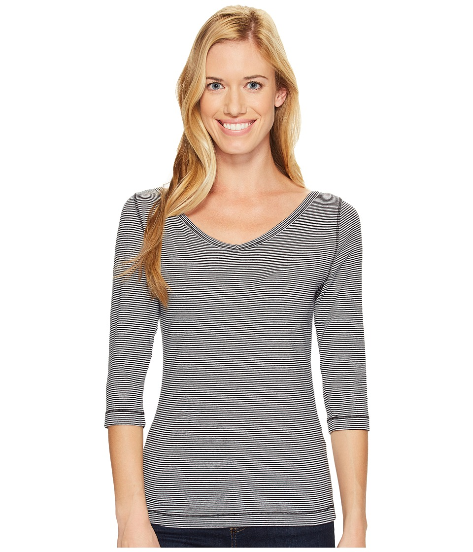Royal Robbins - Kickback to Front Stripe 3/4 Sleeve Top (Jet Black) Women's Long Sleeve Pullover