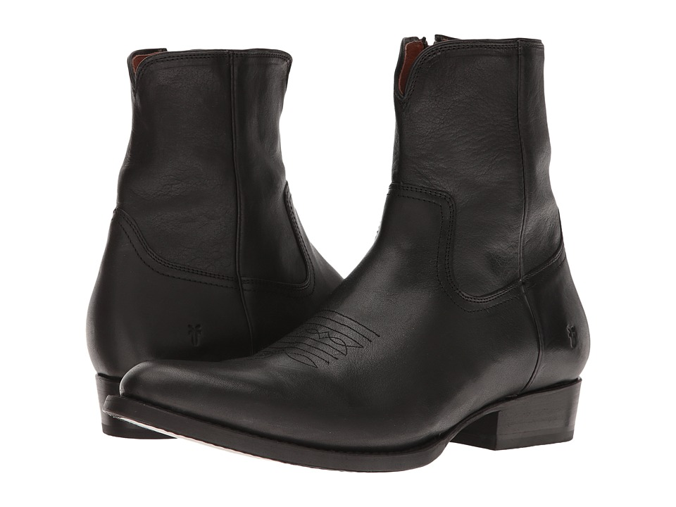 Frye Austin Inside Zip (Black Washed Tumbled Full Grain) Men