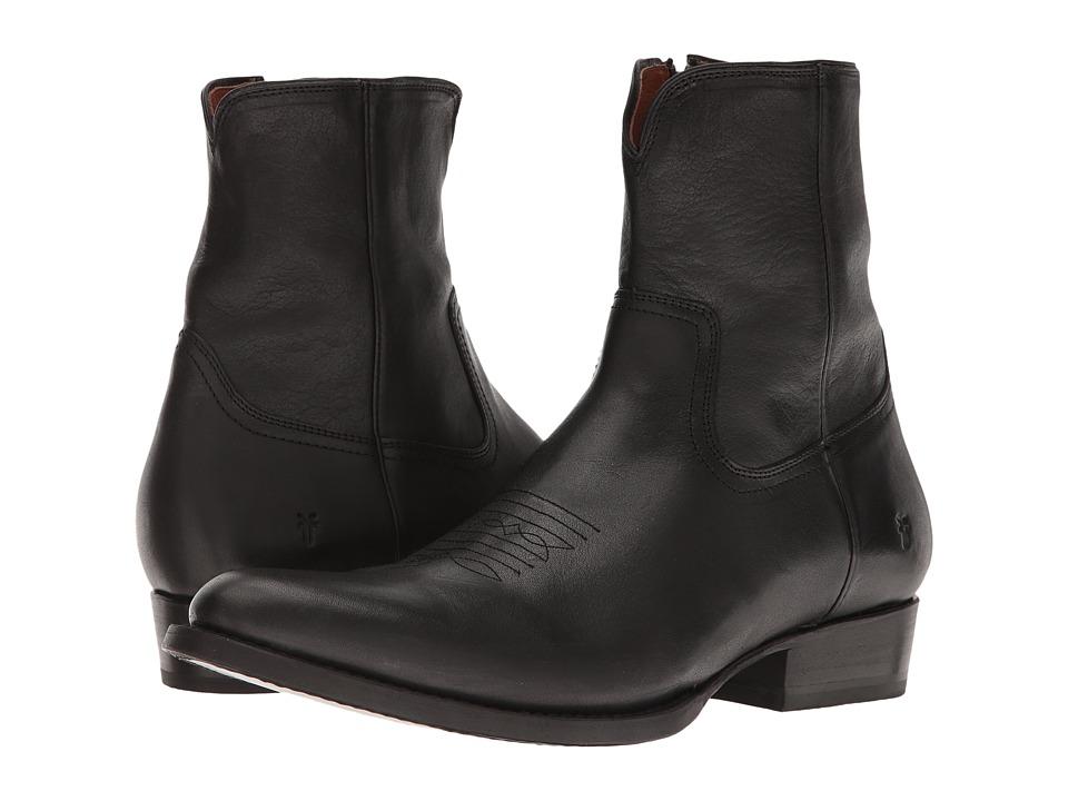 Frye - Austin Inside Zip (Black Washed Tumbled Full Grain) Men's Boots