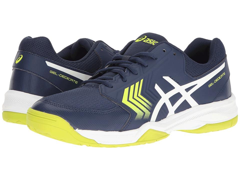ASICS - Gel-Dedicate 5 (Indigo Blue/White/Safety Yellow) Men's Tennis Shoes