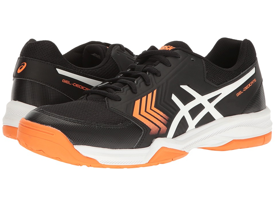 ASICS - Gel-Dedicate 5 (Black/White/Shocking Orange) Men's Tennis Shoes