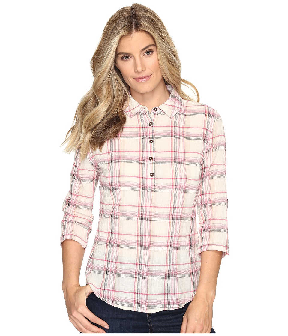 Royal Robbins - Oasis Plaid Popover Top (Creme) Women's Long Sleeve Pullover