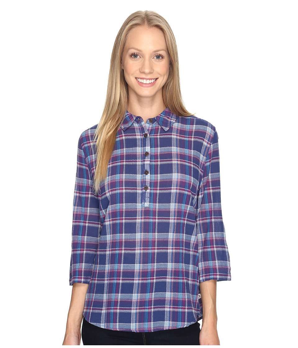 Royal Robbins - Oasis Plaid Popover Top (Blue Sea) Women's Long Sleeve Pullover
