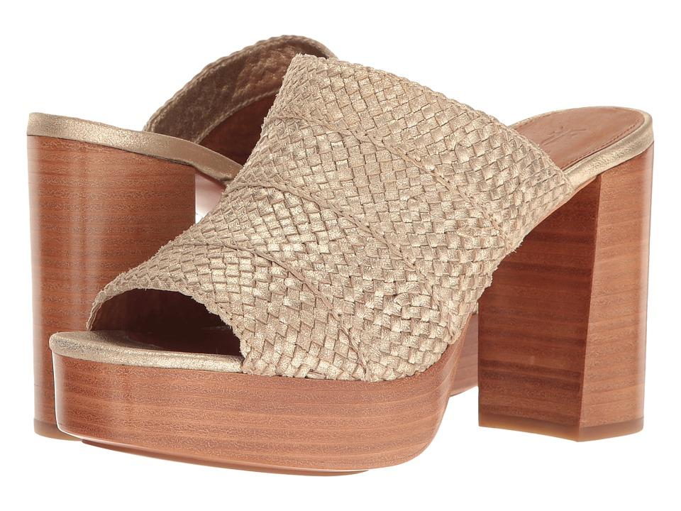 Frye - Katie Woven Slide (Gold Smooth Metallic) High Heels