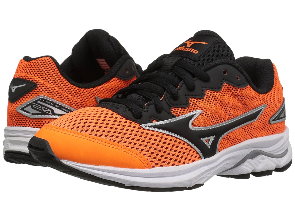 Mizuno - Wave Rider 20 Jr (Little Kid/Big Kid) (Clownfish/Black/Silver) Men's Running Shoes