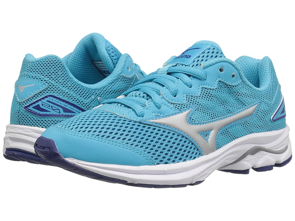 Mizuno - Wave Rider 20 Jr (Little Kid/Big Kid) (Blue Atoll/Silver/White) Women's Running Shoes