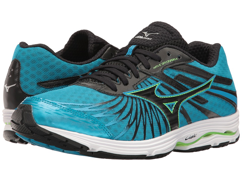 Mizuno - Wave Sayonara 4 (Atomic Blue/Black/Green Gecko) Men's Running Shoes